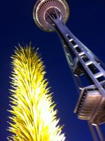 Garden exhibit - Chihuly Garden and Glass and Space Needle in Seattle night time