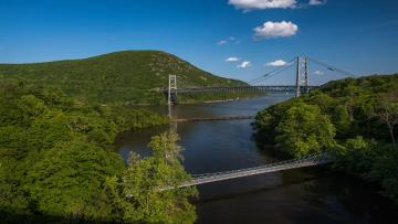 View of Bear Mountain Bridge in summer