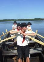 "Members of a bateau crew on Lake Champlain. ""An Army Rows and Marches on its Stomach"" is one of four ""Fort Fever Series"" programs at Fort Ticonderoga January through April 2014."