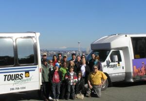Group shot of Seattle visitors and Tours Northwest staff