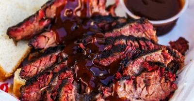 Sliced BBQ beef from Full Service BBQ