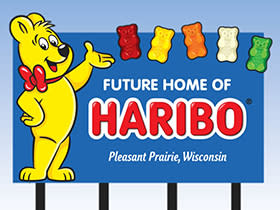 Haribo's Pleasant Prairie Sign with Gummy Bear