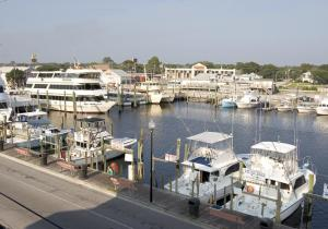 Boats docked at Carolina Beach Fishing Center and Marina
