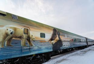 VIA Rail decorated train car
