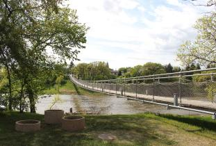 Swinging bridge over the Souris River