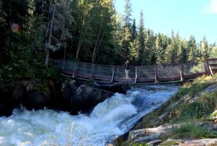 Suspension bridge at Wekusko Falls