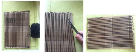 Finish warp strings, tape off the yarn on the backside and cut off the yarn