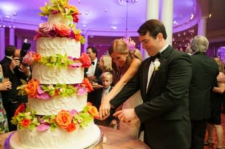 Colorful Wedding Cake Cutting