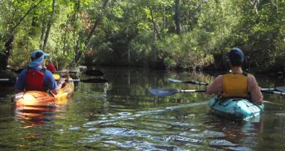 Friends Kayaking in Outer Banks