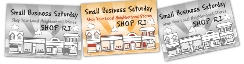 Small Business Saturday Shop RI flyer featuring four small business storefronts and a sun shining in the background.
