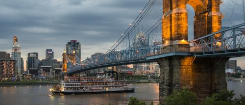 Roebling and Riverboat at Twilight
