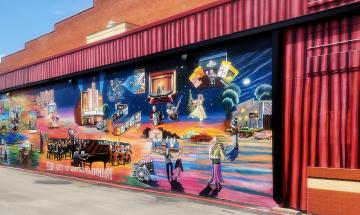 Ribbon Cutting: Historic Outdoor Art Museum/N.B., Inc.'s newest mural 'The Art of Entertainment'