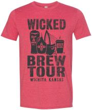 Red heather t-shirt with the 2019 Wicked Brew Tour Logo