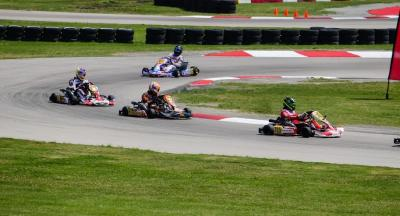 Drivers race go karts at the NOLA Motorsports Park in Jefferson Parish, LA