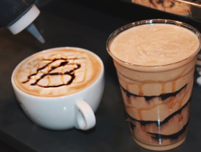 The Tipsy Bean coffee drinks with chocolate drizzle
