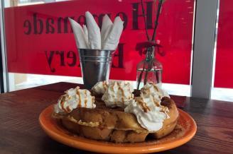 WOM: Cinnamon Churro Waffle w/ Dulce de Leche Sauce