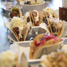 several tacos lined up from agae and rye in covington ky
