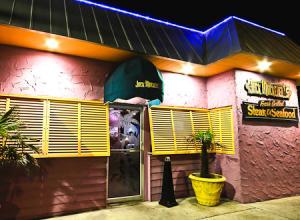 Exterior shot of Jack Mackerel's Restaurant at night