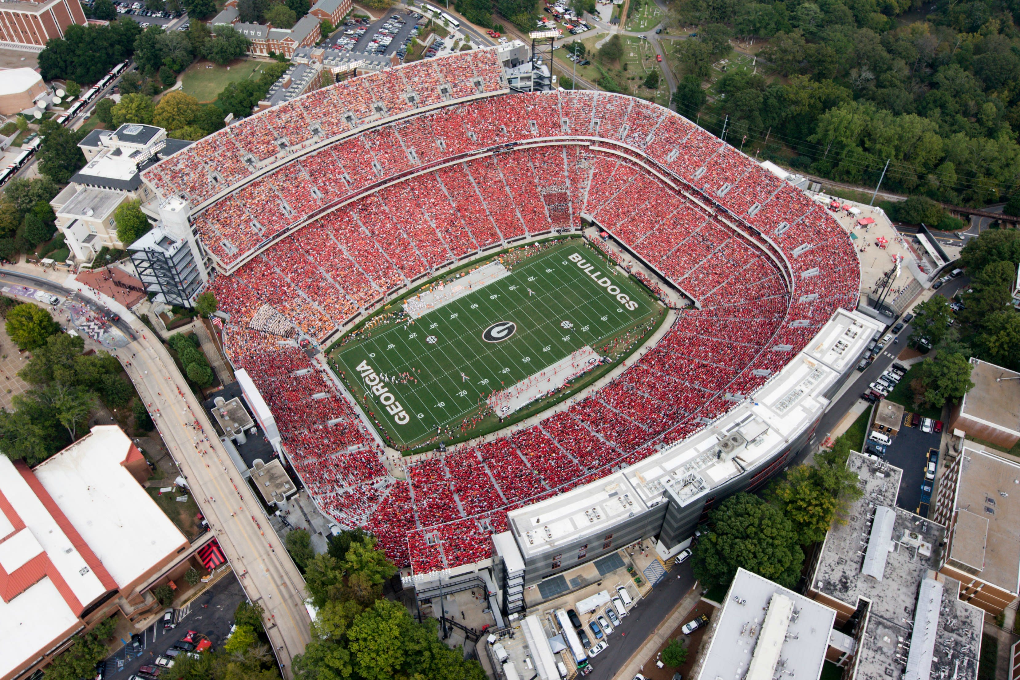 Aerial view of UGA's Sanford Stadium in Athens, Georgia