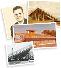 Historic photos of Southern Bleacher Company projects and employees