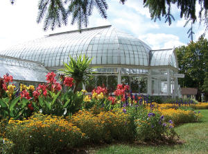 Exterior of the Sonnenberg garden's greenhouse