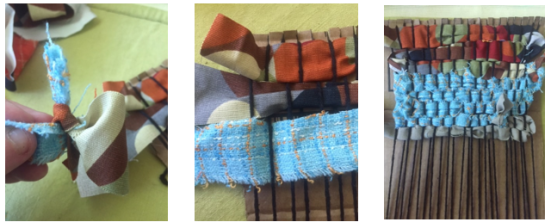 Example of how to tie a piece of yarn or fabric to the next piece