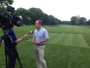 Golf player being interviewed