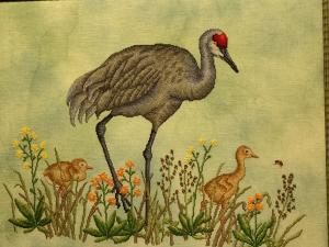 Cross stitch Sandhill crane and chicks from Golden Needle