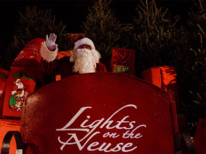 Santa in his sleigh at Boyette Farm's Lights on the Neuse event, Clayton, NC.