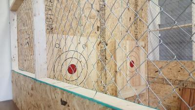 Boards and target at the Battle Grounds Axe Throwing