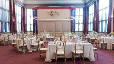 Preservation Park's indoor ballroom tables and chair arrangement