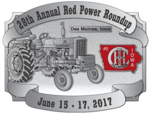 Red Power Round Up Belt Buckle