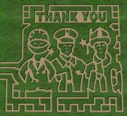 The Paulus Orchard 2020 Corn Maze pays tribute to front-line workers.