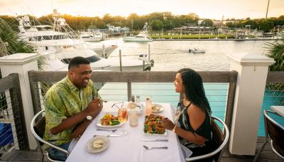 Couple dining at Bluewater Waterfront Grill