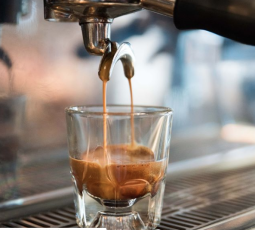 Espresso machine in action at Harvest Coffee Bar and Fare