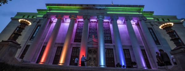 rainbow lighting for Pride Columbus at City Hall