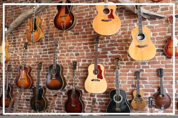 Wall of Guitars at Driftwood Music