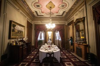 A view inside the Culbertson Mansion State Historic Site dining room.
