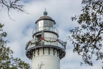 St. Simons Island Lighthouse decorated at Christmas