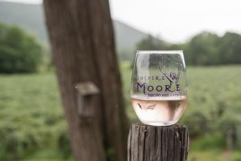 a glass of wine from Inspire Moore sits in front of a field of grape vines