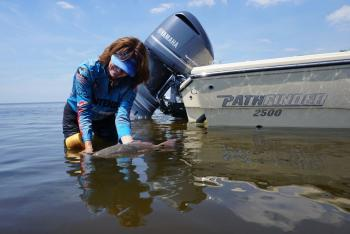 Capt. Leiza Fitzgerald, CCA Florida STAR Tournament Director, with a CCA Florida STAR tagged redfish in Charlotte County's waters