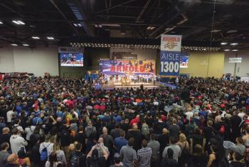 Crowd around stage at the Arnold Sports Festival