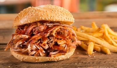 BBQ sandwich and french fries from Calhoun's BBQ