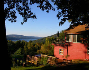 Exterior of a vacation rental property overlooking Canandaigua lake