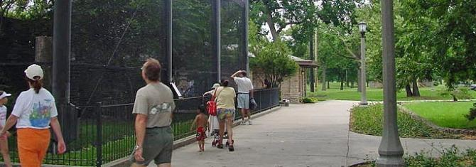 Central Riverside Park visitors observe the animals at the Kansas Wildlife Exhibit