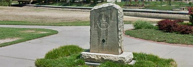 Small monument marking where the Chisholm Trail once ran through Wichita