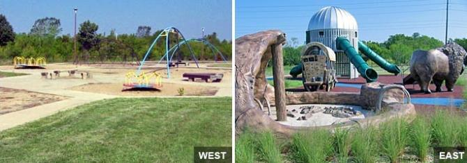 Two large, empty play sets at the Dr. Glen Dey Park in Wichita