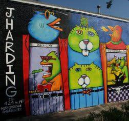 Beans Barton Mural with cartoon animals in Houston
