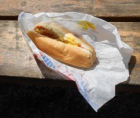 A Zesto hot dog done just right - catsup, mustard and a splash of pickle relish.