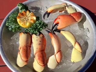 Plate of stone crab claws at Golden Lion Cafe